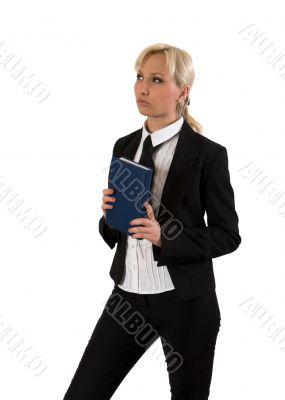 Business woman thinking.