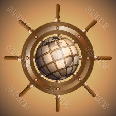 Globe and steering wheel
