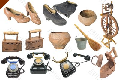 Vintage military army objects big set isolated