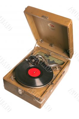 Vintage Russian gramophone  isolated on a white