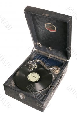 Vintage black gramophone  isolated