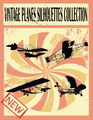 Vintage planes silhouettes collection