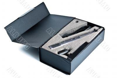 microphone set in black box