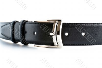 black leather belt with buckle