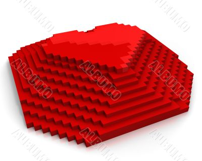 Pyramid with heart on top made of red cubic pixels,diagonal view