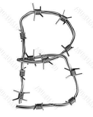 Barbed wire alphabet, B