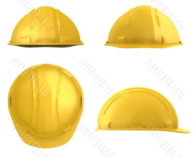 Yellow construction helmet four views isolated