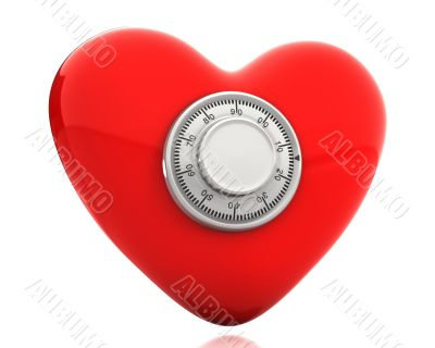 Red heart with a numeric safe lock