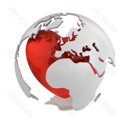 Globe with heart, Europe part
