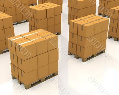 A lot of stacks of carton boxes on a pallets