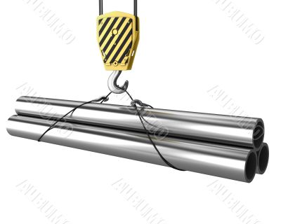 Crane hook lifts up few pipes