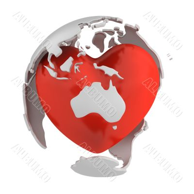 Globe with heart, Australia part