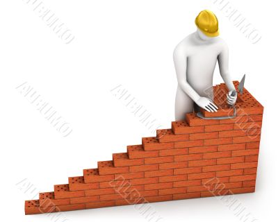 Abstract builder places a brick