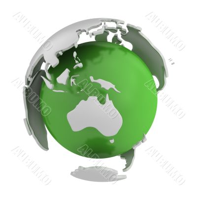 Abstract green globe, Australia part