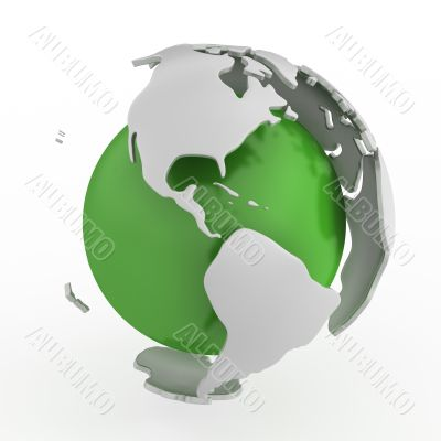 Abstract green globe, America