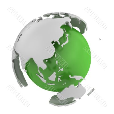 Abstract green globe, Asia