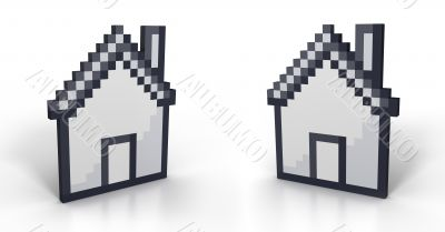 Pixelated house in perspective from two different angles