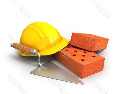 Bricks, trowel and a yellow plastic helmet