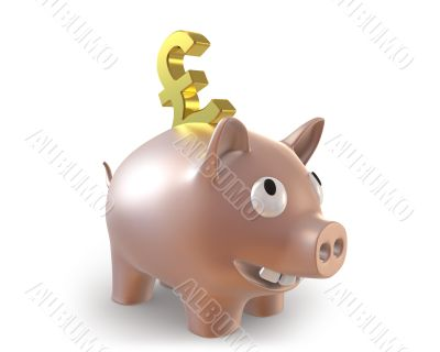 3d piggy bank with pound symbol
