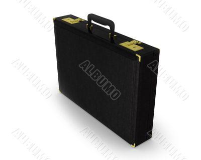 Black briefcase standing