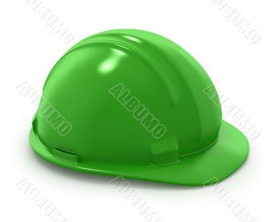Green builder`s helmet isolated