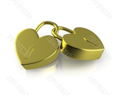 Two connected golden locks formed as hearts
