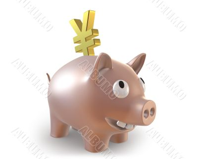 3d piggy bank with yen symbol