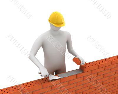 3D white builder lays bricks