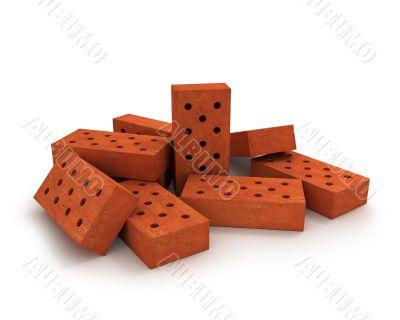 Heap of orange bricks isolated on white