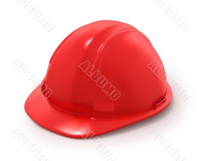 Red builder`s helmet isolated