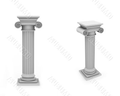 Marble roman columns frontal and diagonal view isolated