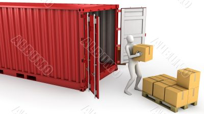 Worker unloads container