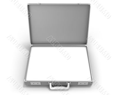 Gray briefcase with blank field