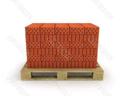 Stack of orange bricks on pallet, isolated on white