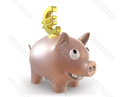 3d piggy bank with euro symbol