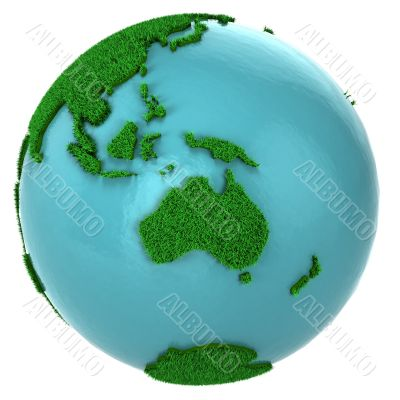 Globe of grass and water, Australia part