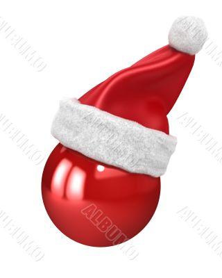 Christmas ball with santa hat on top