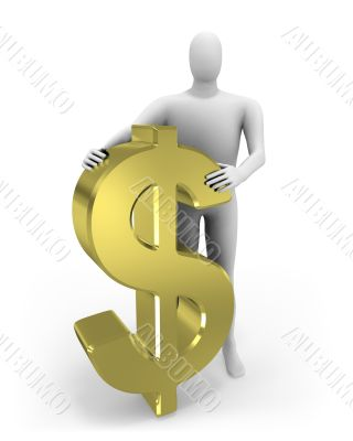 3d man embraces dollar figure