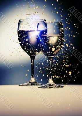 wine gold glasses