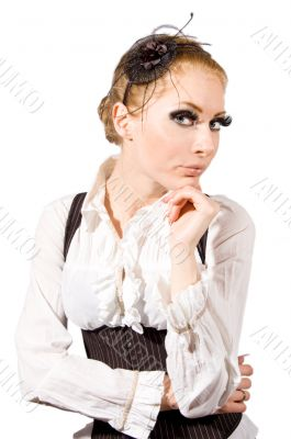 Woman with long lashes and corset