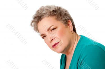 Confused senior woman