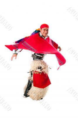 Happy dancing indiginous Latino man
