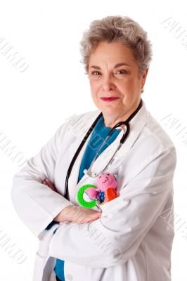Happy friendly pediatrician doctor nurse