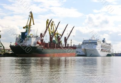 freight ship and passenger ship in the trade port