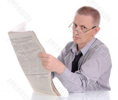 Caucasian Man Reading Newspaper