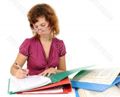 businesswomen, read documents.