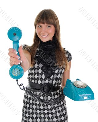 The girl with a handset