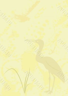 background with heron - vector