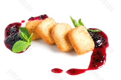 Fruit cheese with blackberry sauce