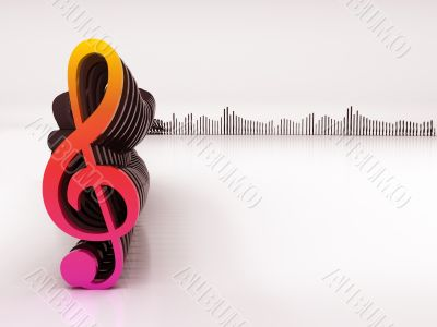 3d musical notes and equalizer